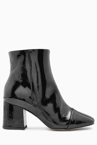 Buy Black Patent Block Heel Ankle Boots from the Next UK online shop