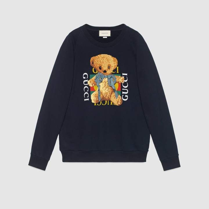 97f0c17c63 Gucci Oversize sweatshirt with logo and teddy bear | Products ...