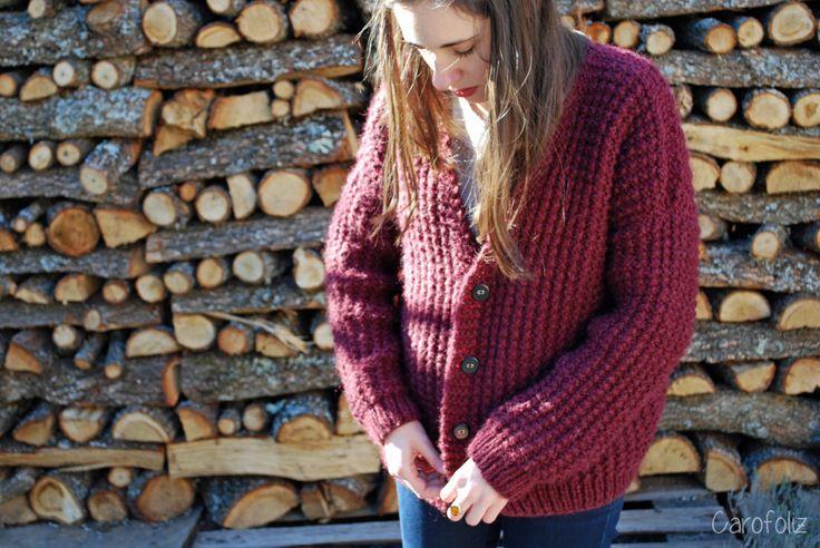 gros gilet loose au tricot - point de sable carofoliz.com