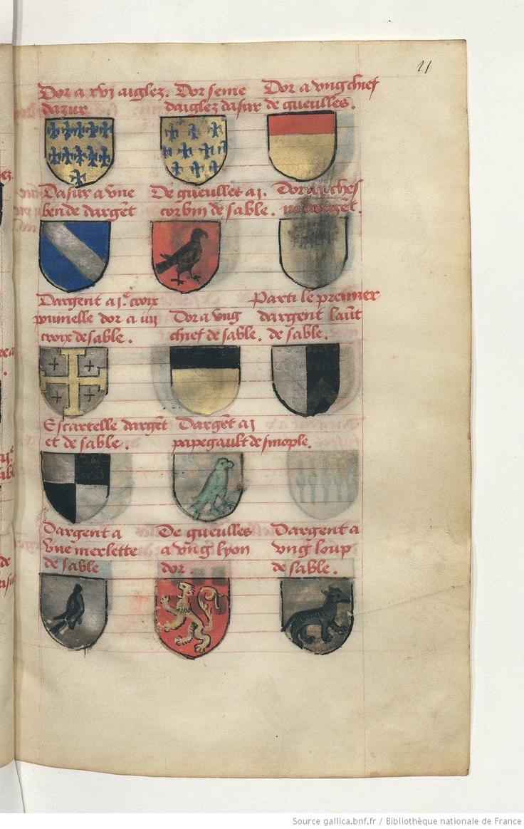 Traité de blason, 1401-1500, c.11r, Bibliothèque nationale de France, Département des manuscrits, Français 14357