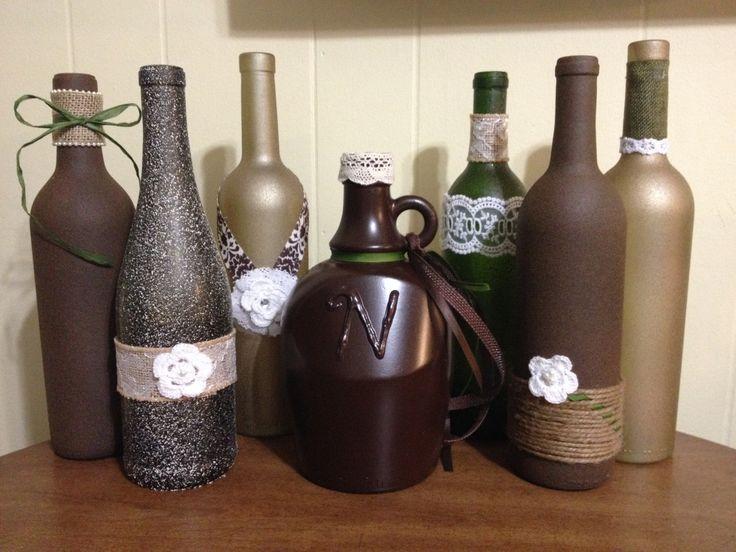 Diy repurposed wine bottles centerpieces for rustic for Homemade wine bottle centerpieces
