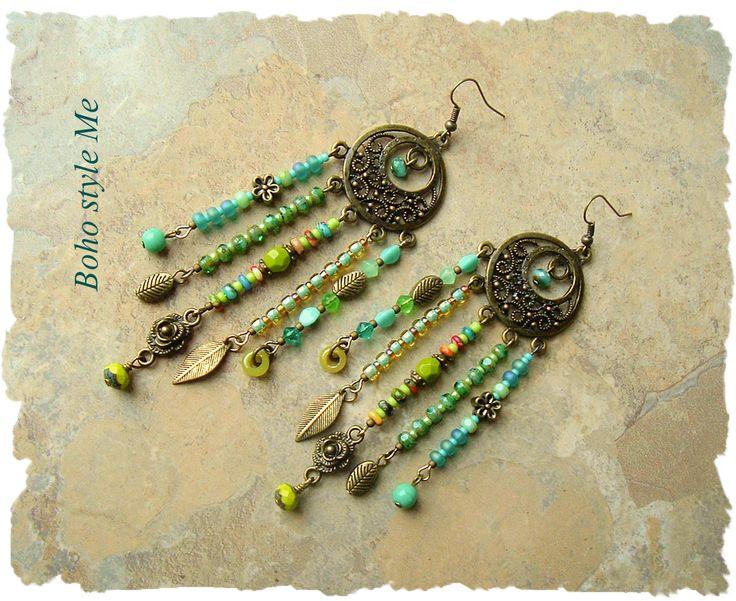 Boho Nature Girl Earrings, Assemblage Chandelier Earrings, Tropical Colors, Bohemian Jewelry, Boho Style Me, Kaye Kraus by BohoStyleMe on Etsy