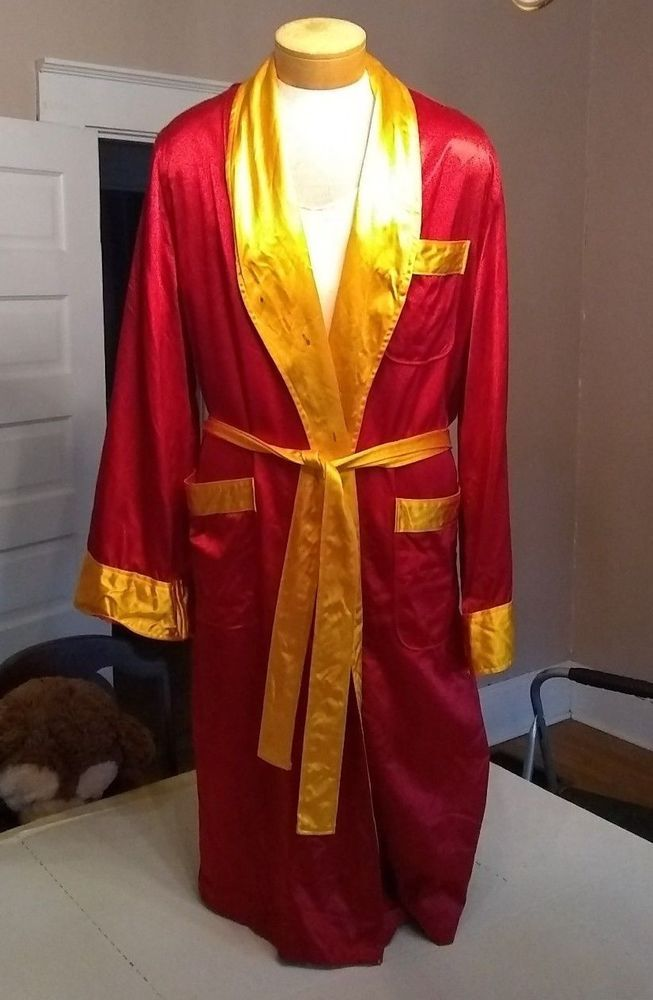 d71c65195a Vtg USMC Marines Red Gold Satin Boxing Dressing Robe Sport Mens Size Large  1956