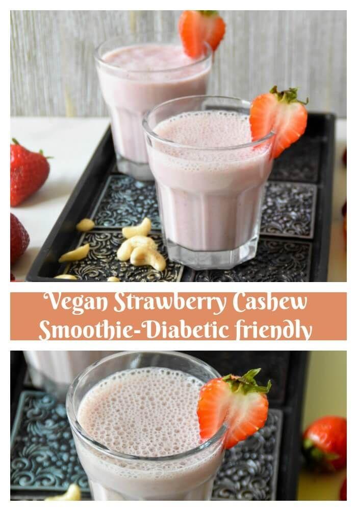 Vegan Strawberry Cashew Smoothie - Zesty South Indian Kitchen with @stevivabrands #steviva #Nectevia