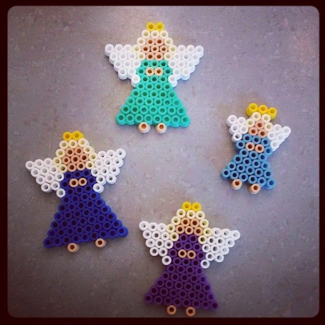 Christmas angels ornaments Nabbi perler by mariannechristine1