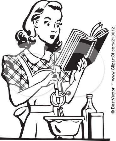 Royalty Free RF Clipart Illustration Of A Retro Black And White Woman Baking Reading Cook Book By BestVector