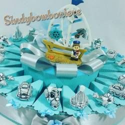 Torta bomboniera VEICOLI argentati nascita,battesimo, comunione eventi vari