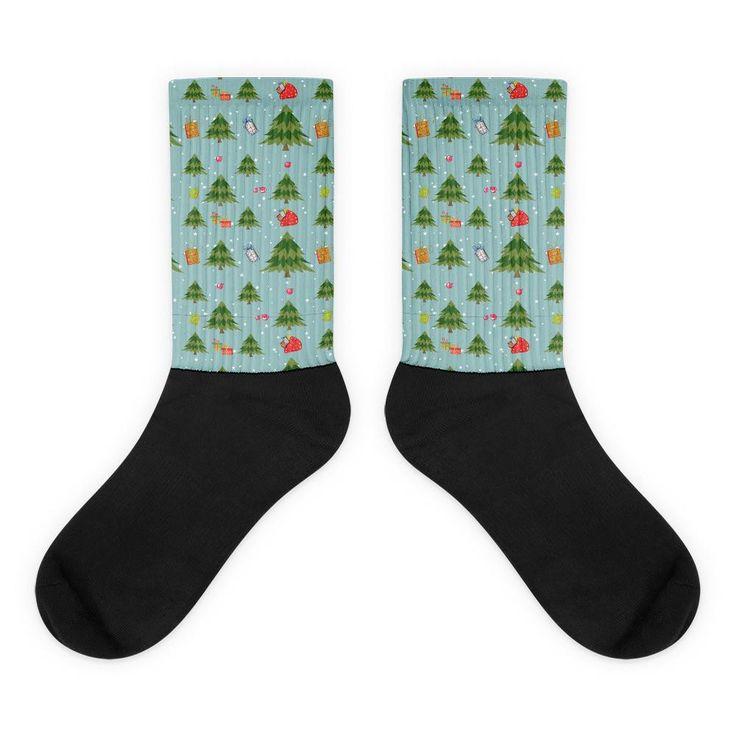 Holiday Trees Pattern Black Foot Socks
