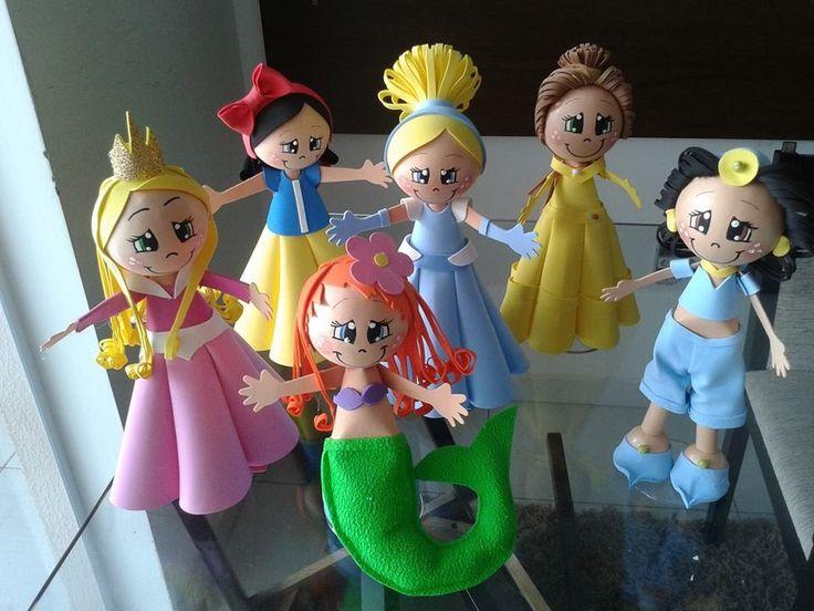 Como fazer Fofucha PRINCESA Cinderela em EVA,princesa en foami,goma eva,...