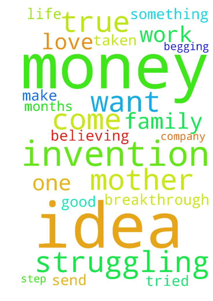 Mother in need of money to make my invention idea come true -  I am a struggling mother God has bless me with very good invention ideas but it cannot come true because I do not have the money. It has been months I am believing God to send help. I have taken a step I have submitted one of my ideas to the invention company they love and want to work with me but no money. Please please pray for me i am in need of a breakthrough I need someone to help me please I am begging please pray I am…