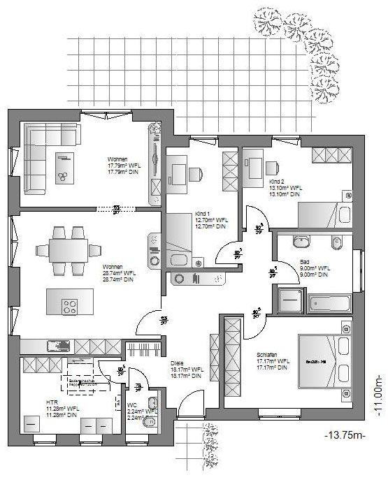 Dieser Bungalow vereint modernes Design und zeitgemäßes Wohnen für jedes Alter. Durch die individuelle Grundform ergeben sich bei diesem Haus viele neue Gestaltungsmöglichkeiten.