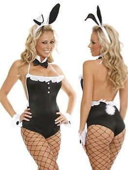 Sexy New Playboy Bunny Black White Costume Halloween Lingerie Free Black Gloves