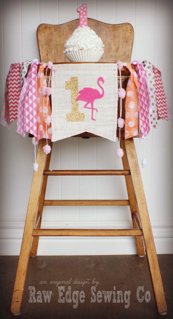 FLAMINGO Birthday Highchair High Chair Banner by RawEdgeSewingCo