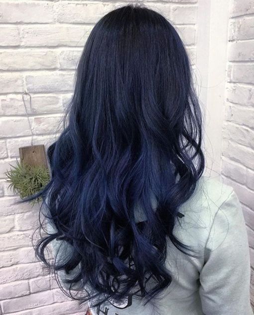 Subtle Black To Blue Ombre Hair Pinterest Blue Hair Hair And