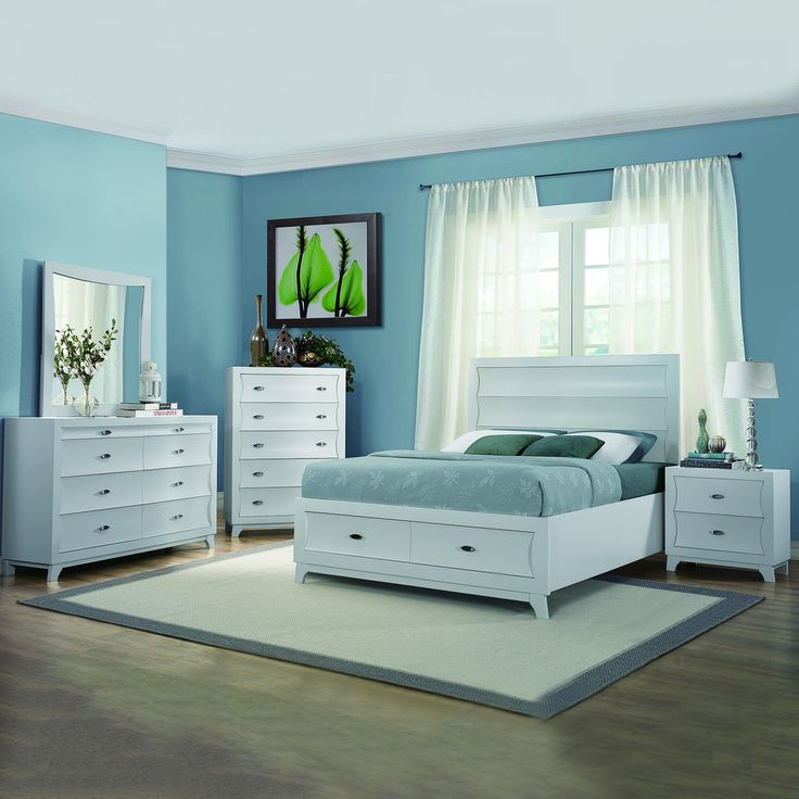 Akeela Contemporary Black Or White Platform Storage 5  Piece Bedroom Set