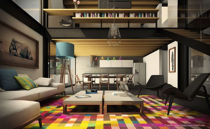 La alfombra, por su tamaño, es suficiente para generar ese aire especial a este living. Detrás, en el comedor, luminarias en diferentes tonos pastel completan el look.