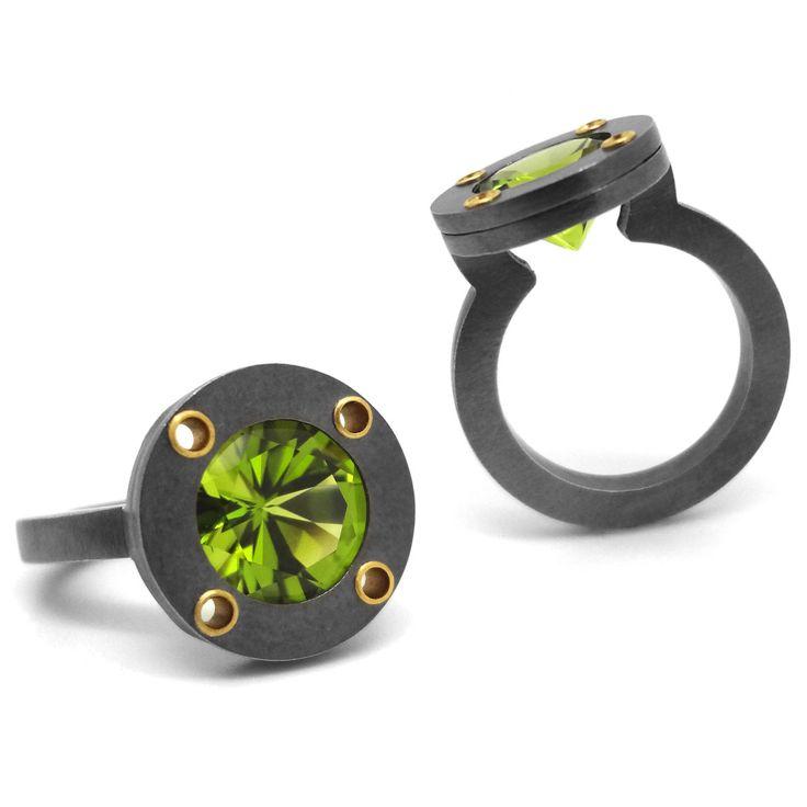 Wesley Zwiepperidot Saturn Ring Available In Garnet Topaz Amethyst Peridot Gold Citrine
