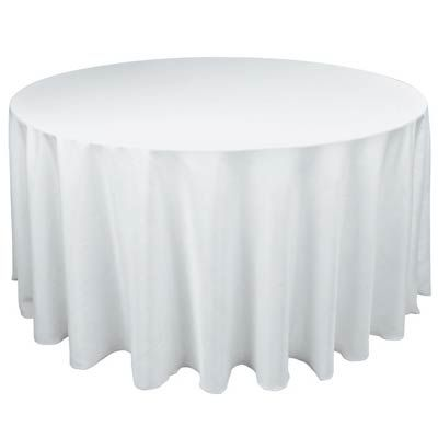 """84"""" Round White Table Cover 7070_white-ns $3.99           www.wrapwithus.com"""