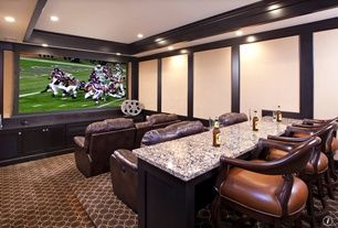 Craftsman Home Theater with Crown molding, Leather home theatre recline chairs, Bain brook brown granite, Standard height