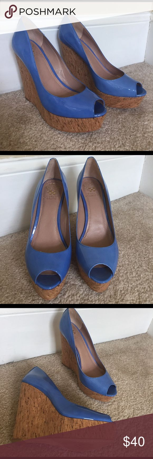 Vince Camuto Patent Blue Cork Wedges Stunning patent blue with a cork wedge. No wear to the sole. Very lightly worn so hardly any wear shown on bottoms. Perfect for your summer dresses! Vince Camuto Shoes Wedges