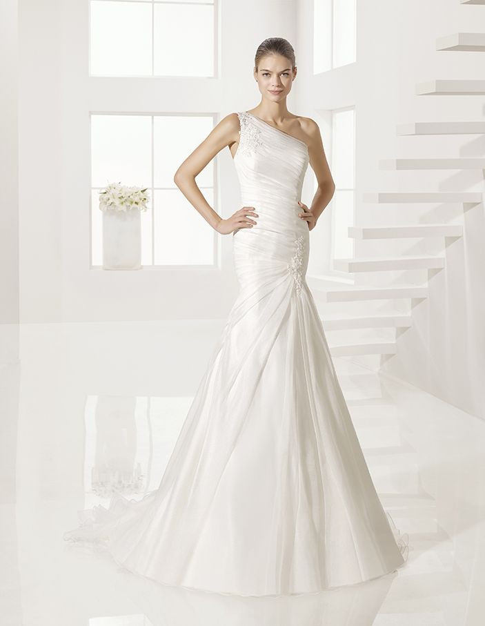 Garay - Beaded royal organza and lace dress, in natural.