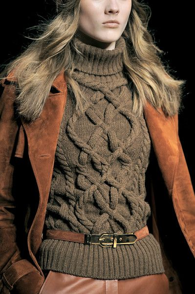 Beautiful Cable Knit Sweater and Suede Jacket: