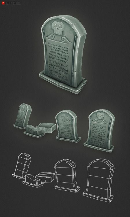 Low Poly Grave Stone 01 Add a professional touch to your game project with this low poly, hand painted grave stone. You should find this items easy to reshape and alter as needed or it can just be used as is. The model comes in four slightly different versions.