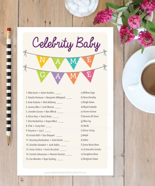 Baby Shower Celebrity Name Game (Printable)