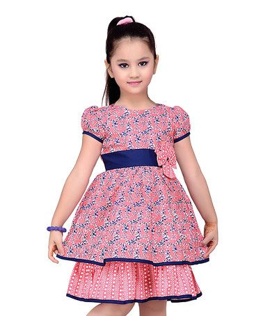Look at this #zulilyfind! Navy & Blue Floral Layered Short-Sleeve Dress - Kids #zulilyfinds