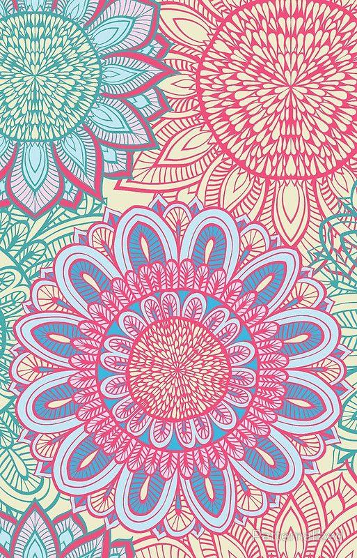 floral ornament by patternalized - #pink #floral #doodle #pattern