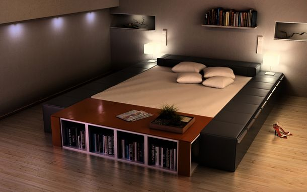Bed with bookshelf and couch-like sides