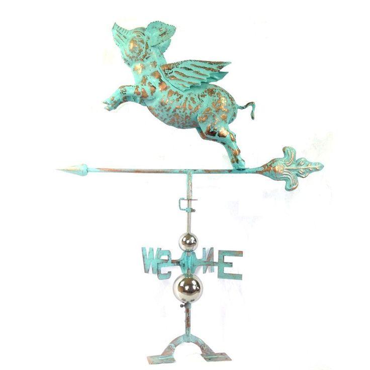 Benzara Urban Port Green Copper Defined Flying Pig Weathervane