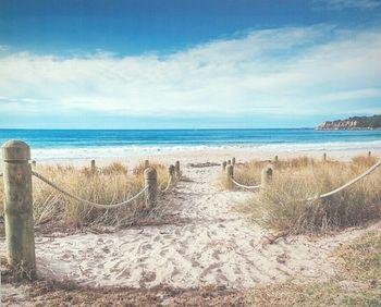 Toile tendue sur chassis bois de longueur : 50 cm ede t largeur : 40 cm.Joli décor mural bord de mer avec ce sentier qui mène à la plage.