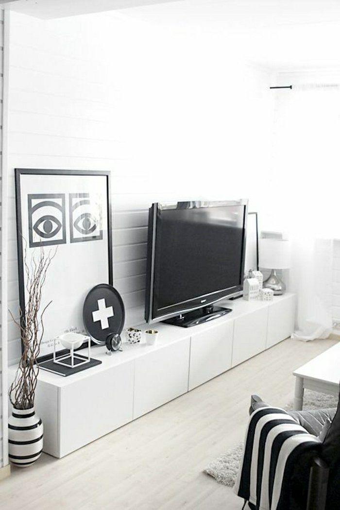 salon design élégant, chambre blanche, pleine de lumière, salon moderne, meuble tv ikea