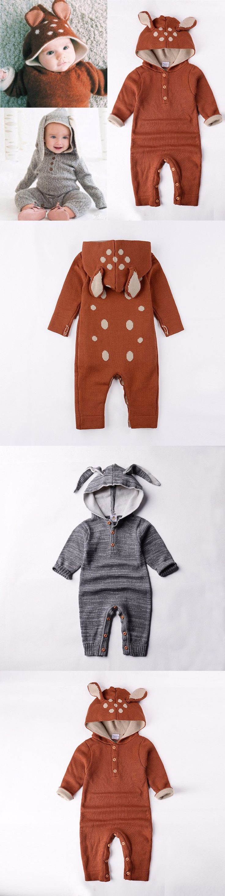 Wholesale 2016 Autumn Knitted baby boys girls clothes set long-sleeve Reindeer Newborn baby Romper jumpsuit roupas de bebe