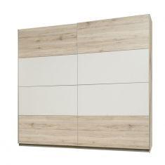 Skříň věšáková s posuvnými dveřmi VALERIA dub pískový/bílá