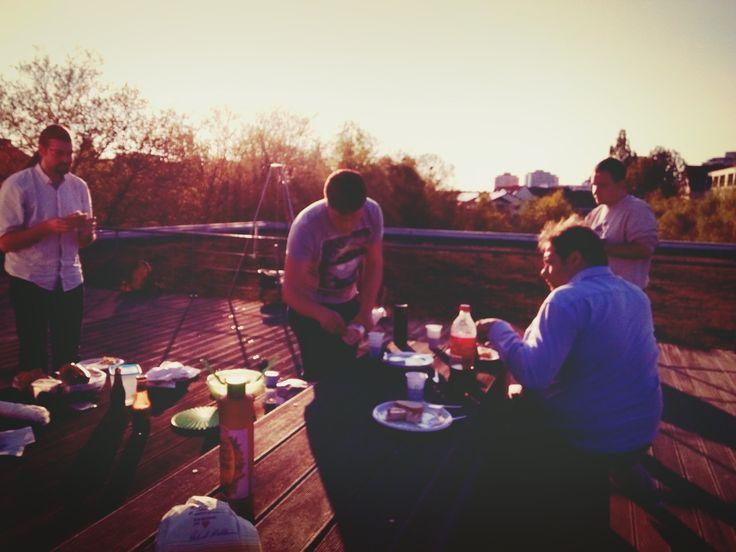 Sonnenuntergang auf der krumedia Dachterrasse