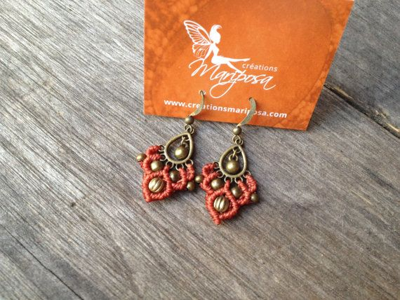 Micro macramé earrings Peach boho jewelry par creationsmariposa, $18.00