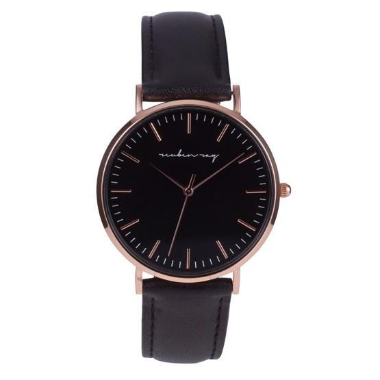 Reuben Ray Classic Black Rose Gold Watch with Black Stiched Leather Band