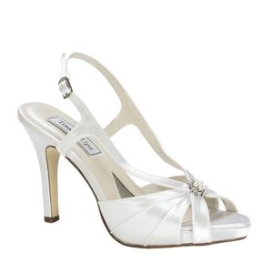 """http://www.sexyshoes.co.nz Style: Brie 256 Material: Satin  Colour: White  Dyable: Yes  Height: 3 1/4"""" Sole: Leather Sizes: 5-12 $169"""