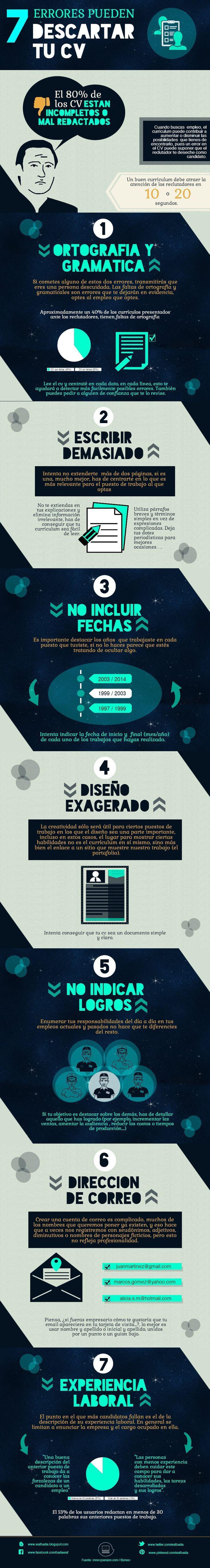 7 errores que pueden descartar tu Curriculum #infografia #infographic #empleo