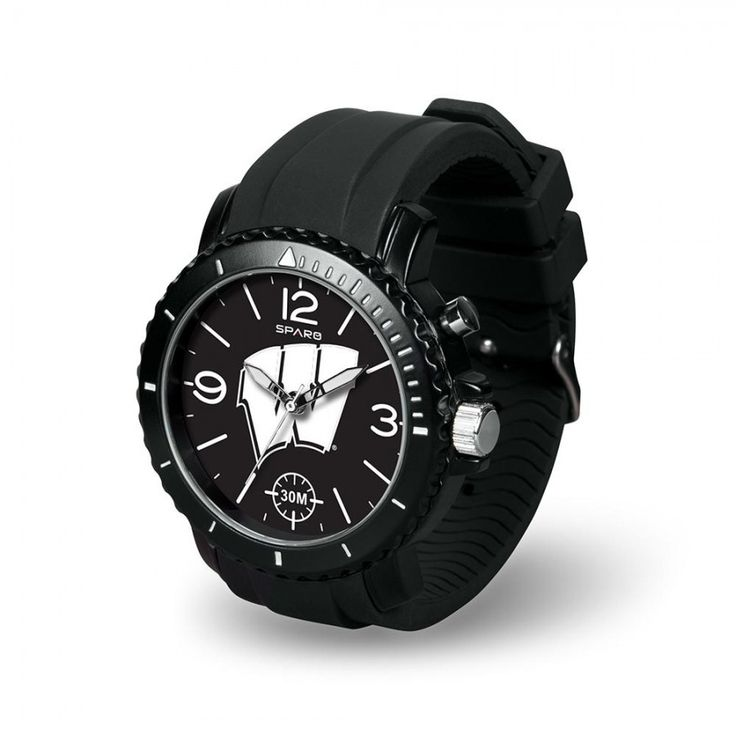 Wisconsin Badgers NCAA Ghost Series Mens Watch  As your team lights up the game you'll be lighting up your wrist with Rico Tag's #Ghost #Watch. Made of a supple rubber sports strap and buckle this watch can be read at anytime of the day or night with its el backlit logo, indexes and numbers. Features licensed team logo and scratch resistant mineral crystal lens.