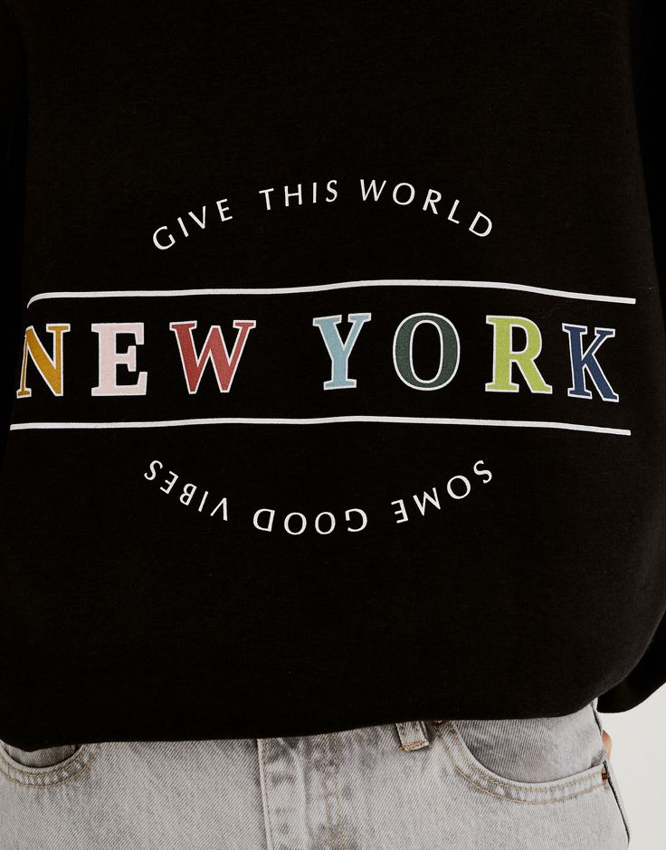 Colourful text sweatshirt - Sweatshirts & Hoodies - Clothing - Woman - PULL&BEAR United Kingdom
