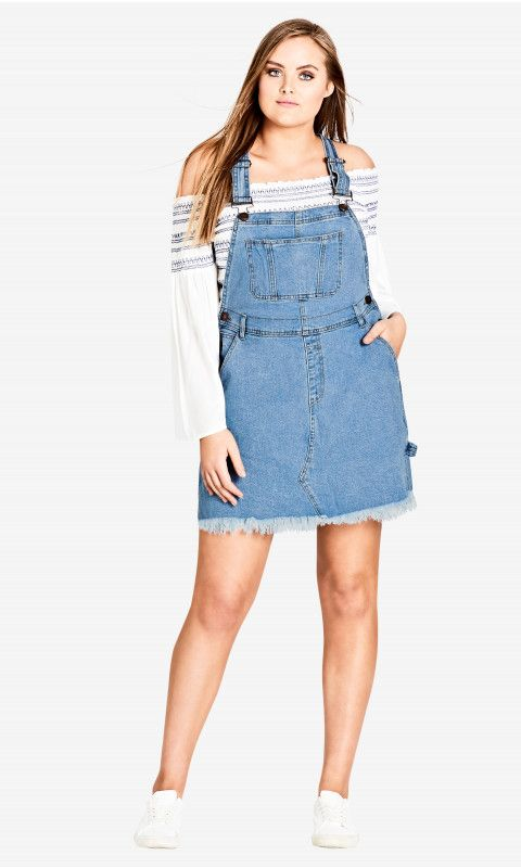 8ff67794a21 Shop Women s Plus Size Denim Overall Bib Dress - New