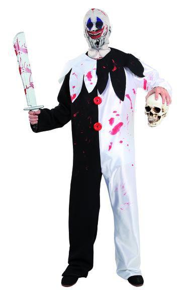 Disfraz Payaso Asesino, blanco y negro  Aterroriza a tus amigos con este estupendo disfraz de payaso asesino.
