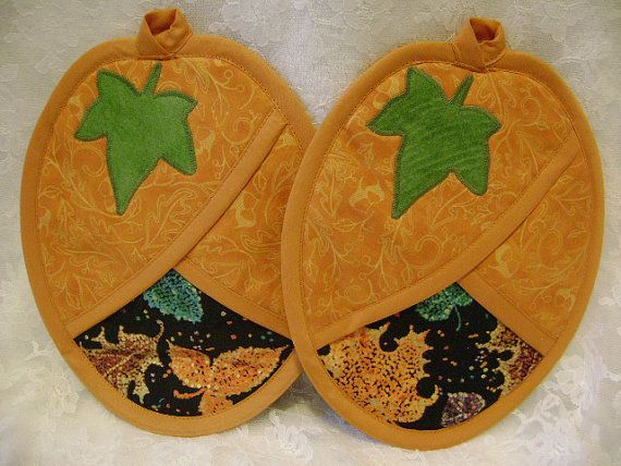 Pumpkin Pot Holder, Autumn Potholder, Oven Mitt, Fall Hot Pad, Autumn  Kitchen