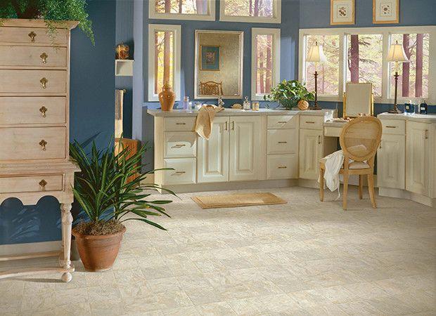 white tilestone look vinyl floors for blue and beige bathroom design