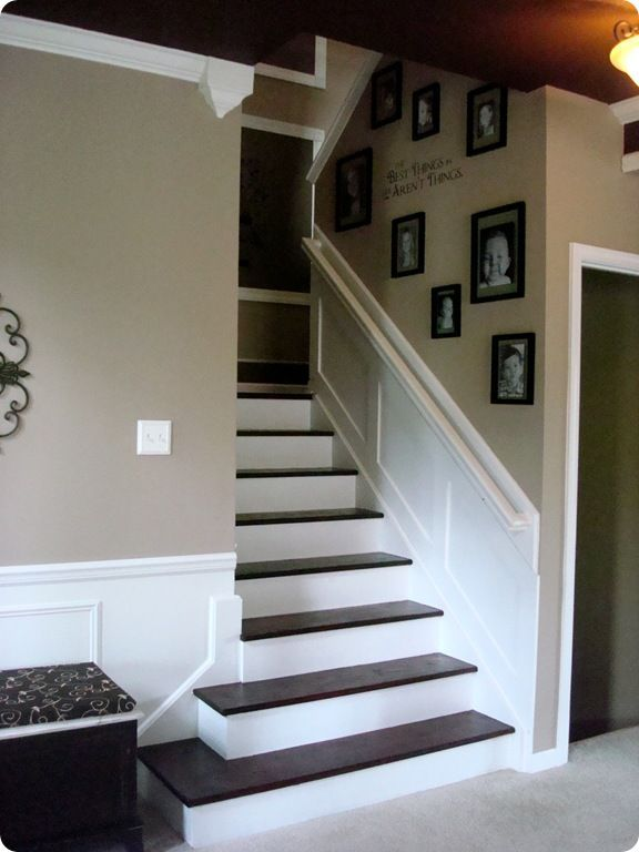 I did this but with black tile floors and stairs and no wainscoting.  Every room should have something black to ground it.