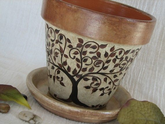 Reserved for Alison  Painted Clay Flower Pot by NaturesHeavenlyArt, $30.00