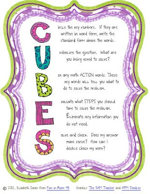 CUBES Method for math word problems!: Math Strategies, Math Problems, Problems Solving, Classroom Freebies, Rooms 4B, Teacher Notebook, Schools Stuff, Math Words Problems, Anchors Charts